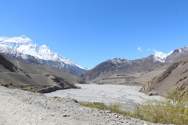Free riverbed valley blue sky river mountain