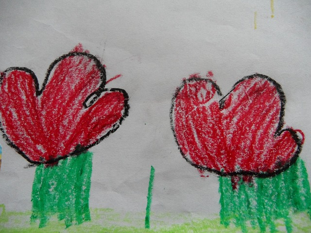 Free flowers children drawing red flowers child flower