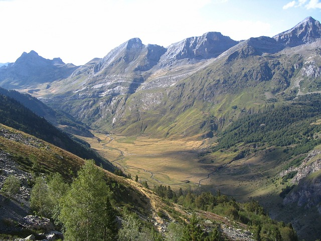 Free france pyrenees mountains valley ravine nature