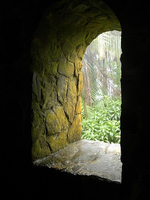 Free Photos: Window portal stone age moss green puerto rico | mephisto1970