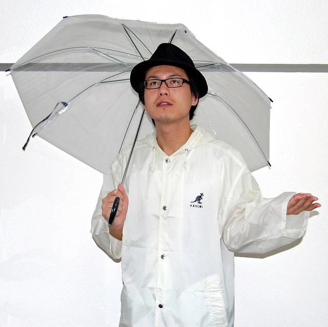 Free male person umbrella rain coat vinyl nylon hat