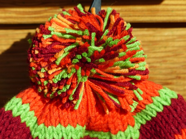 Free cap bobble colorful orange cheerful warm knitted