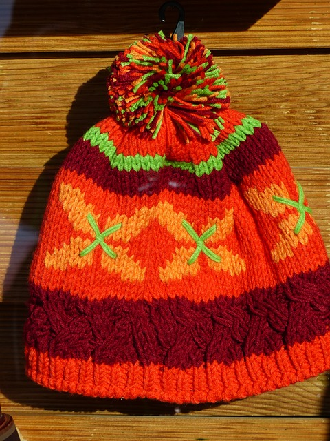 Free cap colorful orange cheerful warm knitted
