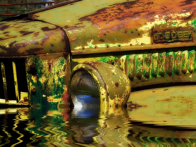 Free flooded old rusty car truck vehicle old timer