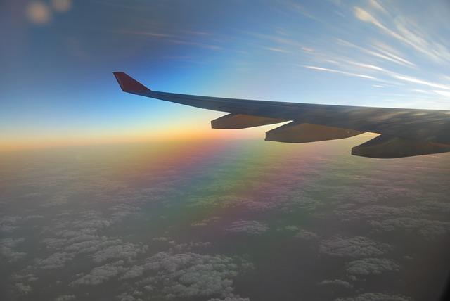 Free airplane wing clouds sunrise blue horizon