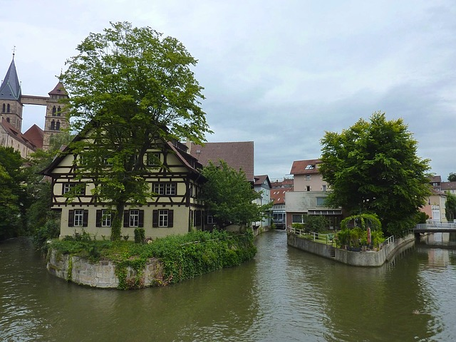 Free esslingen germany sky clouds buildings stream