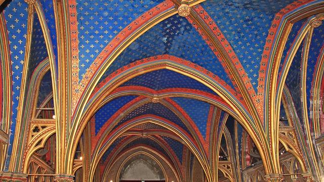 Free paris saint chapelle ceiling blue