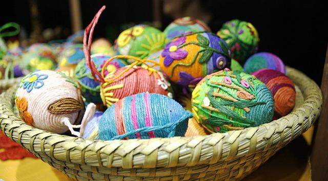 Free shopping cart wicker easter basket easter eggs