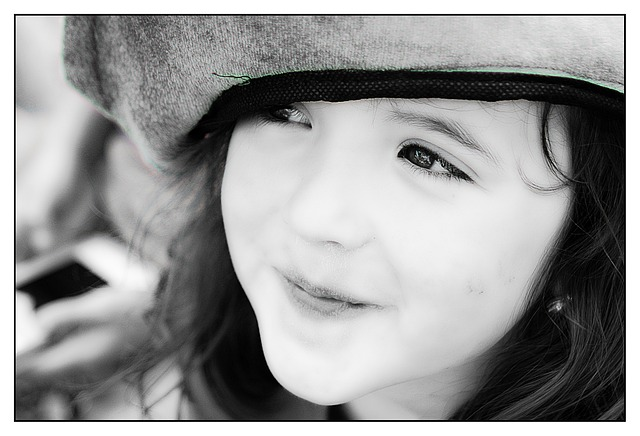 Free girl portrait face black and white smile happy