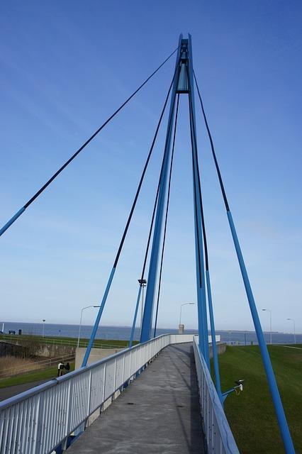 Free bridge landscape blue horizon
