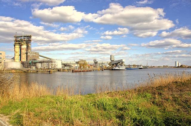 Free landscape buildings clouds industrial