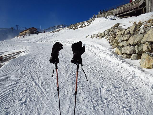 Free gloves cold warming black ski run ski poles