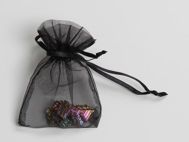 Free bag gift bag black gem mineral bismuth iridescent