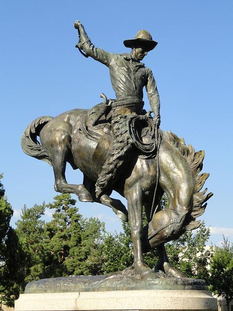 Free denver colorado statue monument cowboy horse sky