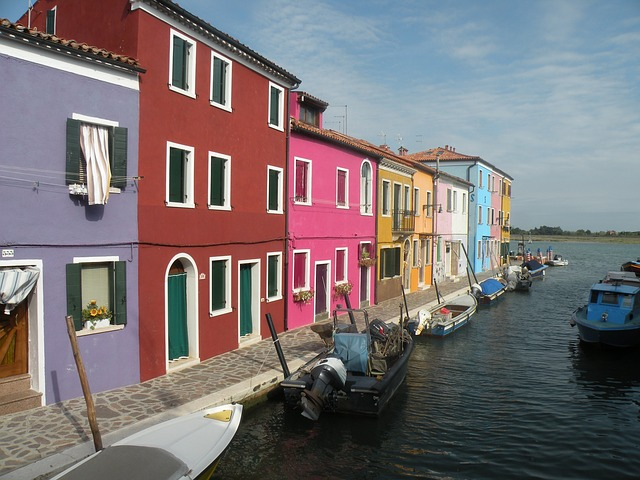 Free burano italy canal water boats buildings waterway