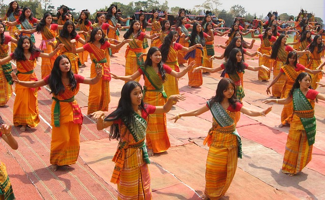 Free bodoland india women girls dancing ceremonial