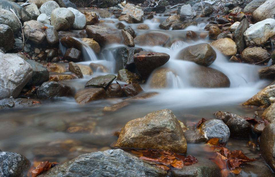 Free Cascading Waterfall of forest outdoor