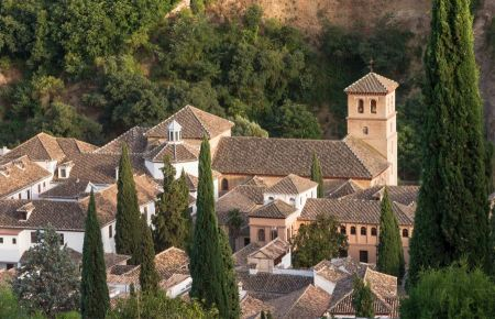 Free roofs of church San Pedro y Pablo, Granada, Spain