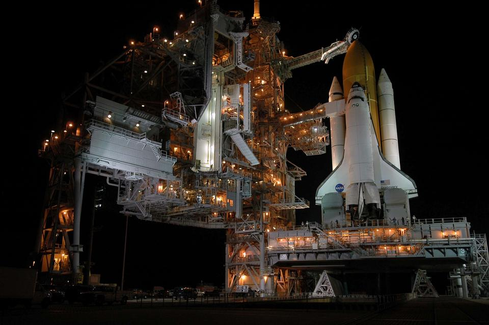 Free Space Shuttle Discovery at night