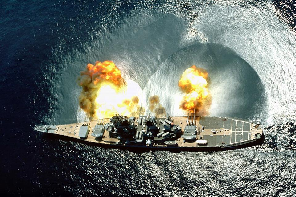 Free USS Iowa (BB-61) fires a full broadside