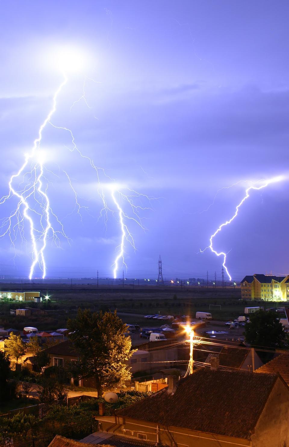 Free Lightning over the outskirts of Oradea, Romania