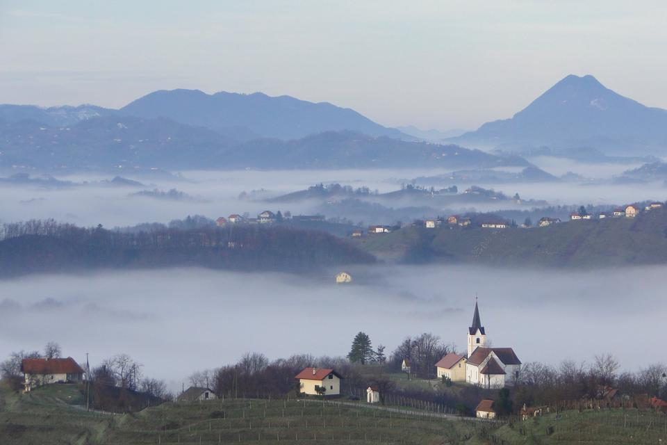 Free Landscape of  Church and forest in morning