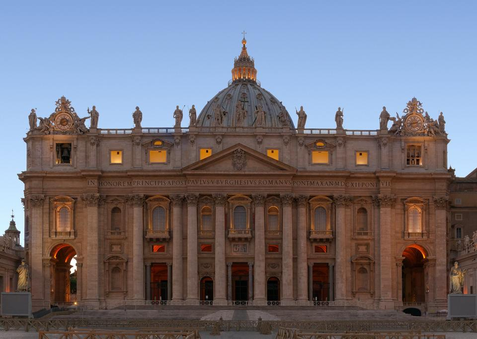 Free Facade of Saint Peter's Basilica in Rome