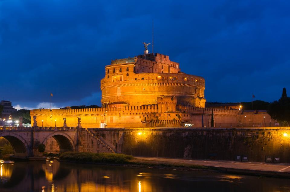 Free Castel Sant'Angelo at dusk, Rome, Italy