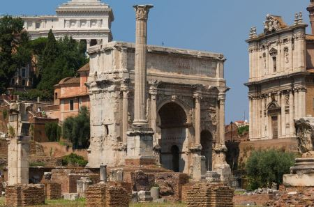 Free Arch of Emperor Septimius Severus and the Roman Forum in Rome