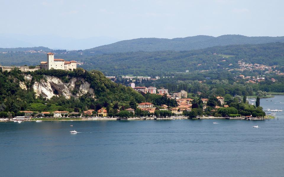 Free Angera, Italy, the fortress over Lake Maggiore view from Arona