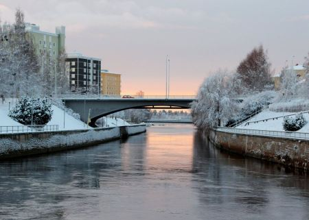 Free Sunset Alakanava bridge in Oulu Finland
