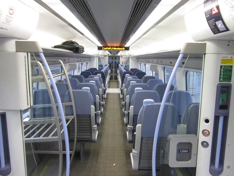 Free Standard class interior aboard Southeastern Highspeed train