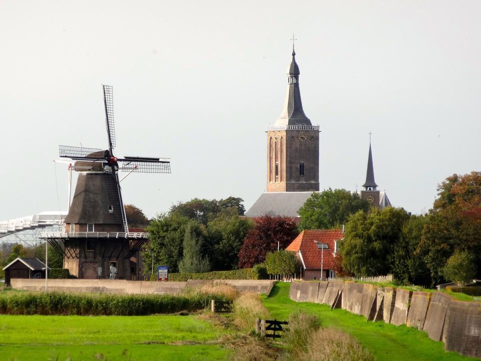 Free church and black windmill