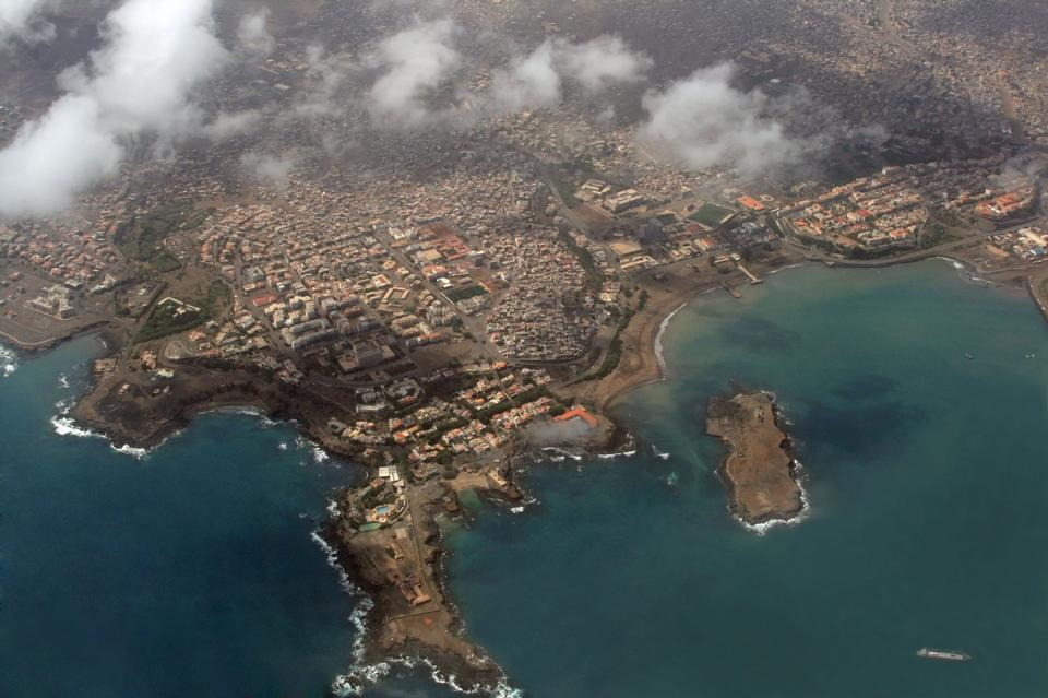 Free Aerial view of Praia, the capital city of Cape Verde