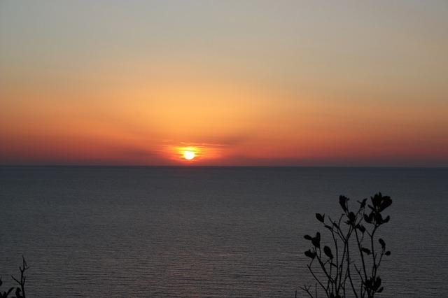 Free sun red sunset sea horizon