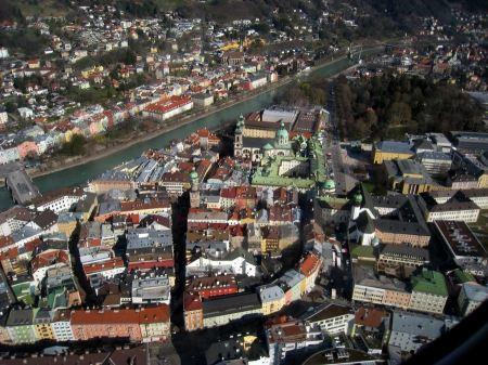 Free aerial view Innsbruck Austria
