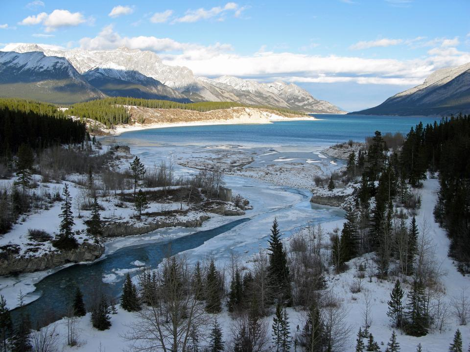 Free Cline River near Abraham Lake in Western Alberta, Canada