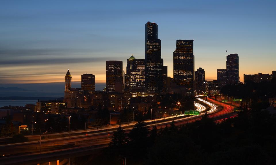 Free Seattle Highways and Skyline at Sunset