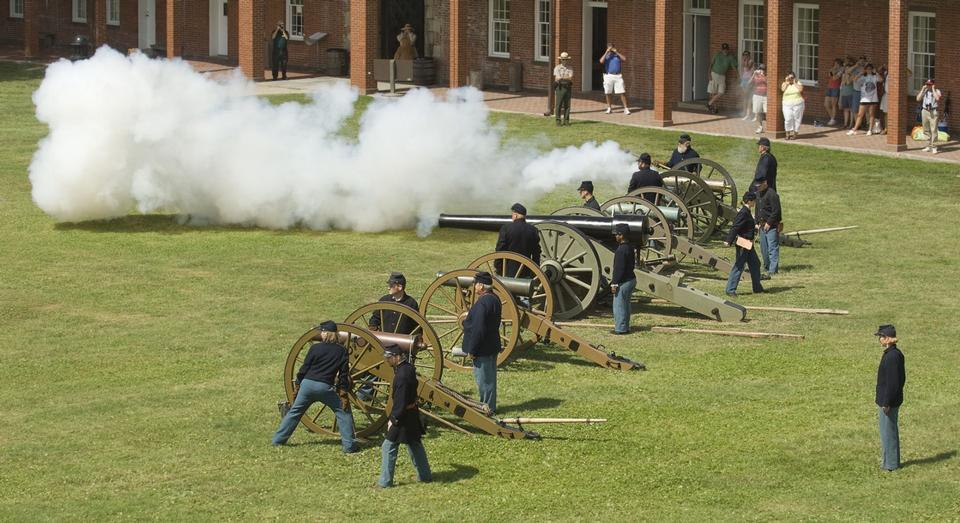 Free Cannon demonstrations inside fort