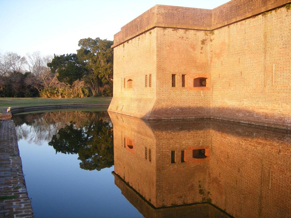 Free Fort Pulaski reflected in moat