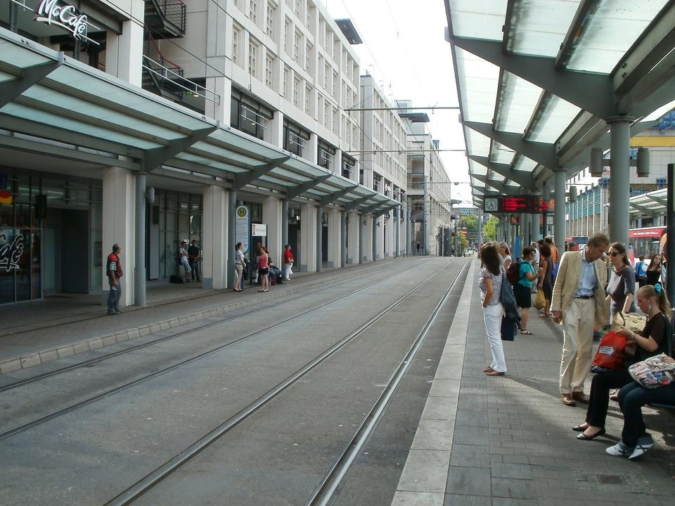 Free a tram stop with passengers
