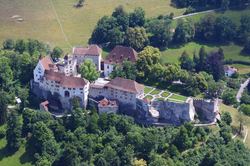 Free Lenzburg Castle from the airplane