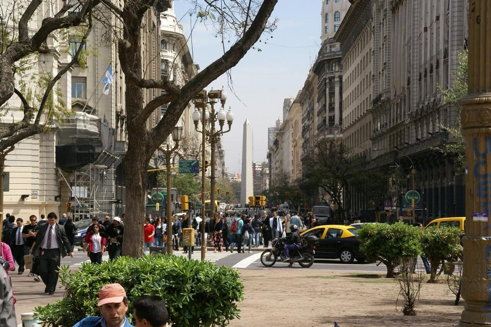 Free Diagonal Norte and obelisk in Buenos Aires