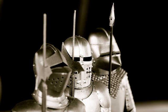Free knight armor weapons metal silver three spear