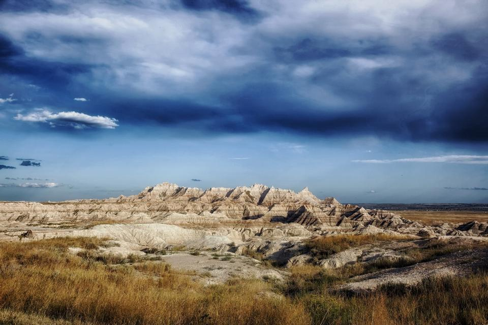 Free A stormy day the the Badlands national park south dakota