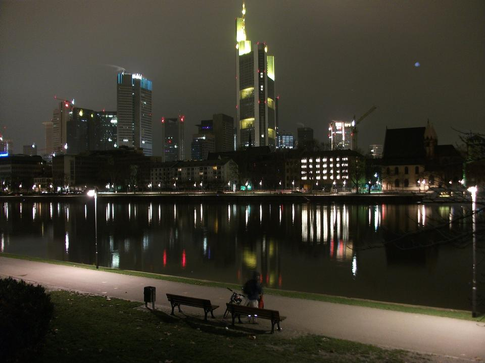 Free Frankfurt  night view of skyline