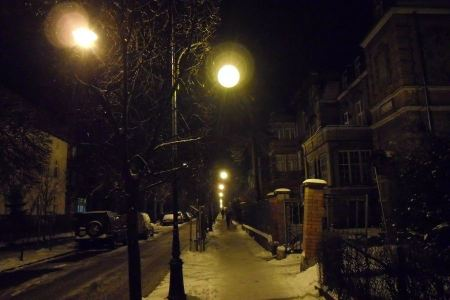 Free Winter stree in the evening covered with snow with a row of lamps