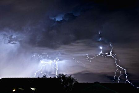 Free lightning in thunderstorm