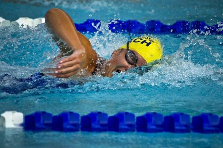 Free Young female swimming the front crawl in a pool
