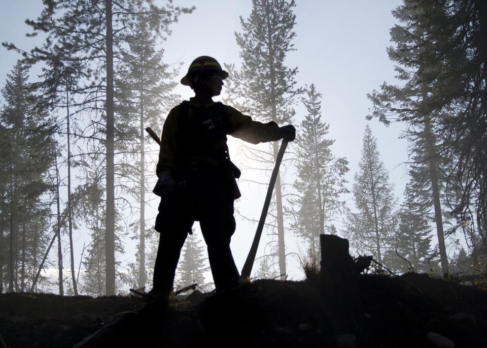 Free Silhouettes of fireman before a fire